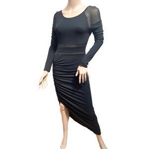 Reverse long sleeve sheer bodycon dress M